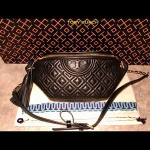 Tory Burch Quilted Black Leather Fleming Belt Bag